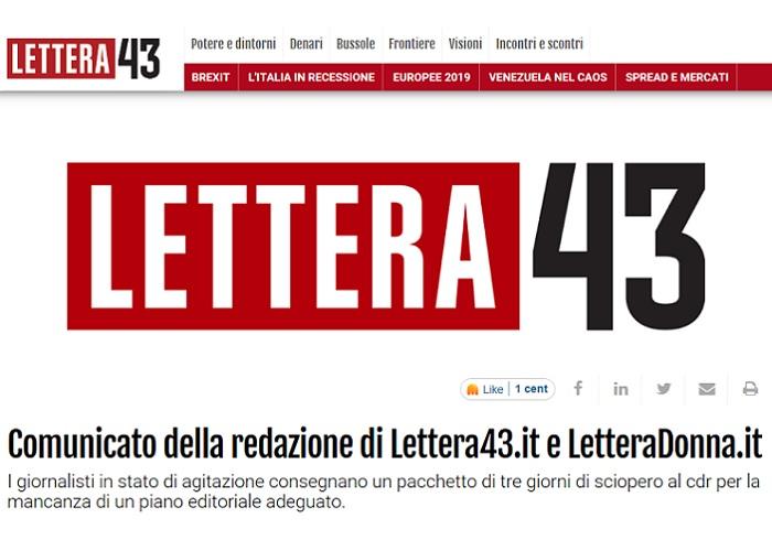 Lettera43.it e LetteraDonna.it: giornalisti in stato di agitazione. Affidati al Cdr 3 giorni di sciopero